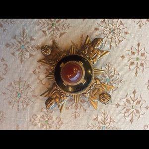 Vintage Jewelry - Buddha Carnelian Onyx Sun PIN Pendant